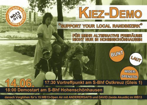 Flyer für die Kiezdemo in Hohenschönhausen am 14.06.2013